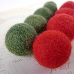 Felt Balls x 10 - Red and Green Christmas- 2cm