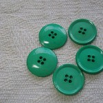 5 buttons,  mint green