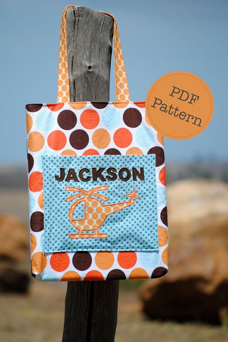 Personalised Tote Bag PDF Sewing Pattern, School, Kindy, Library, Music Bag