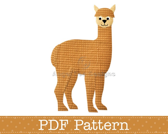 Alpaca Applique Template, Animal, DIY, Children, PDF Pattern