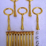 Cake Stand Handle / Fitting 3 Tier Gold Oval Centre Hardware Kit x 5