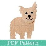 Yorkie Applique Template, Yorkshire Terrier Dog, DIY, Children, PDF Pattern