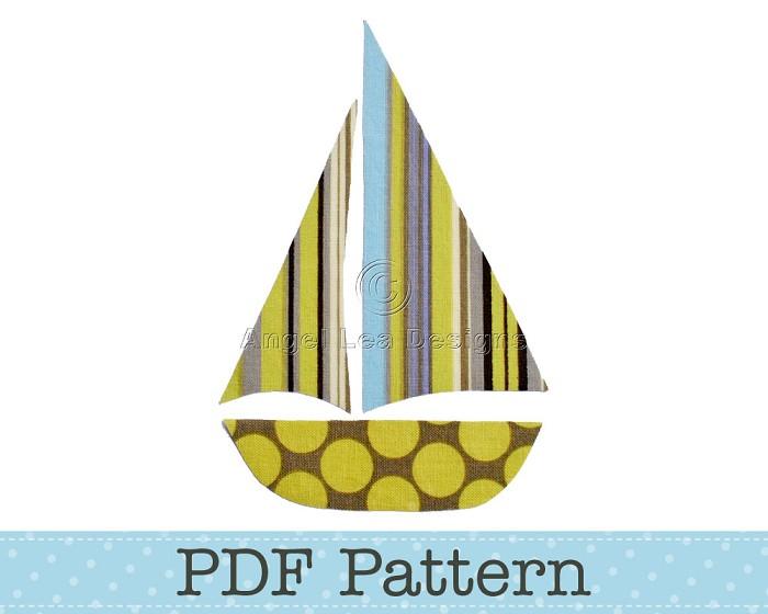 Sail Boat Applique Template, Yacht, Sailboat, Transport, PDF Pattern, Children