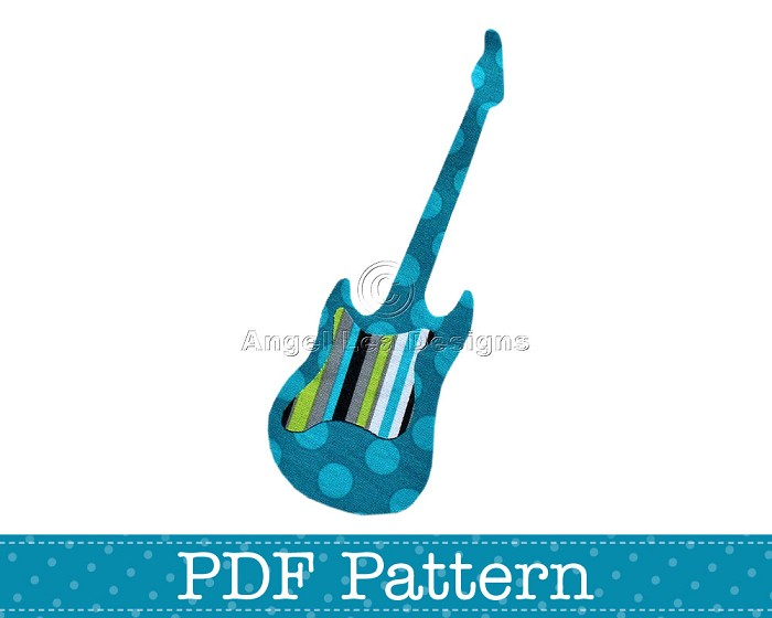 Electric Guitar Applique Template Music Diy Pdf Pattern For