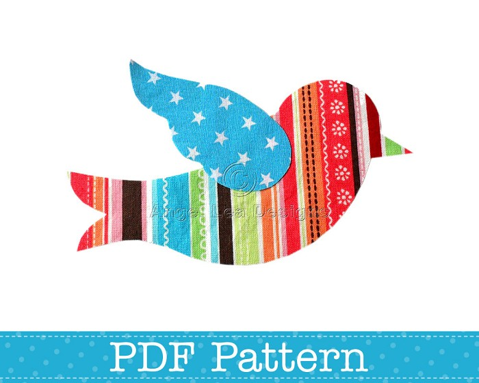 Applique Template, Flying Bird, Animal, DIY, PDF Pattern for Children, Girls