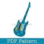 Electric Guitar Applique Template, Music, DIY, PDF Pattern for Children