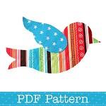 Applique Template, Flying Bird, Animal, DIY, PDF Pattern for Children, Girls