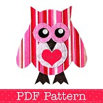 Valentine Owl Applique Template, Bird, Animal, DIY, PDF Pattern