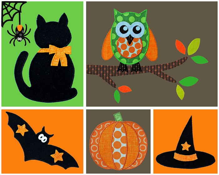 Halloween Applique Template Set. PDF Templates. Halloween Applique Designs