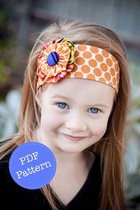 Funky Flower Headband Pattern. PDF Sewing Pattern and Tutorial, Reversible, DIY