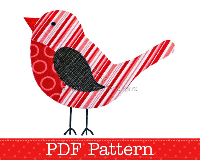 Robin Applique Template PDF Pattern Bird Animal Applique Design – Bird Template
