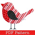 Robin Applique Template PDF Pattern Bird Animal Applique Design Christmas Robin