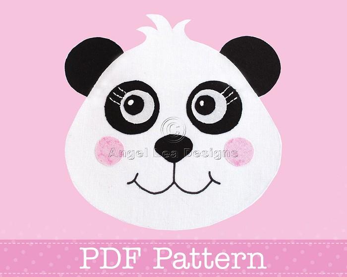 Panda Applique Template PDF Pattern Fabric Applique Bear Animal DIY