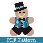 Gingerbread Man Applique Template, PDF Pattern, Boys Applique Design DIY
