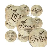 1 Inch Circle Round Vintage Slogan Hope Faith Love Digital Collage Image