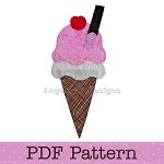 Ice Cream Cone Applique Template, PDF Pattern, Food Applique Designs DIY