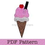 Ice Cream Cone Applique Template, PDF Pattern, Food Applique Designs DIY