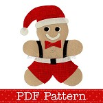 Gingerbread Man Santa Applique Template, PDF Pattern, DIY Christmas Designs
