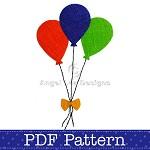 Balloons Applique Template, PDF Pattern, Party Designs DIY Embellishment