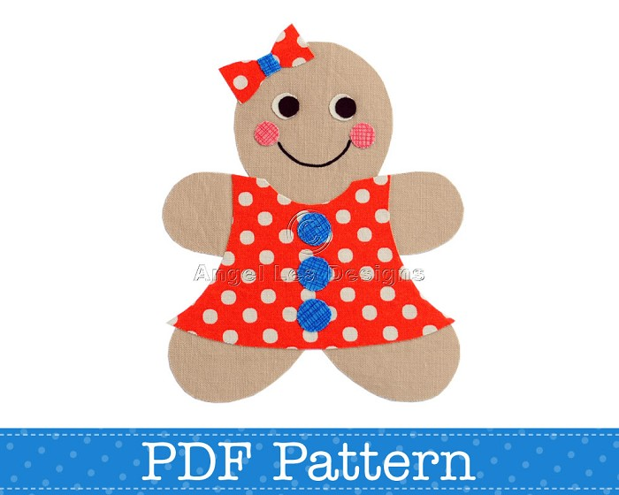 Gingerbread Girl Applique Template, PDF Pattern, Girls Applique Designs DIY