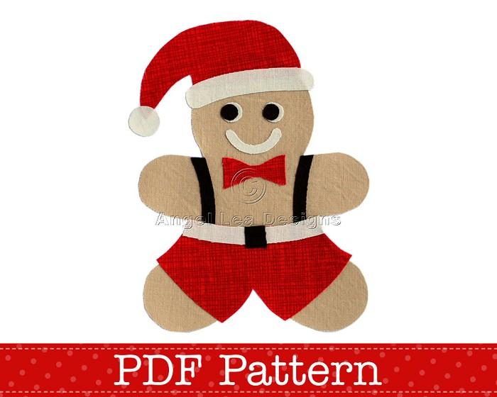 Gingerbread Man Santa Applique Template, PDF Pattern, DIY