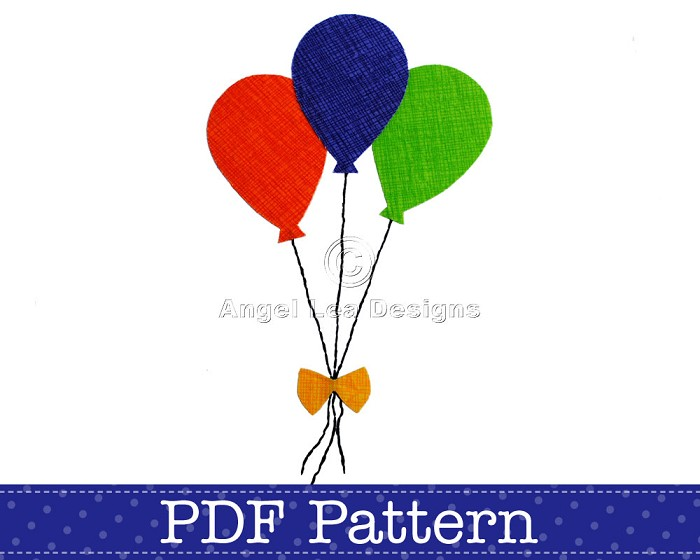 Balloons Applique Template, PDF Pattern, Party Designs DIY Embellishment