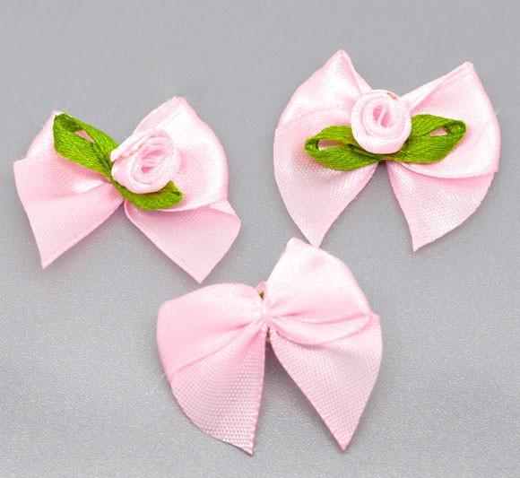 50 x Pink Satin Ribbon Bows with Roses