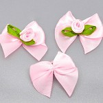 50 x Pink Satin Ribbon Bows with Roses