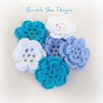 6 x Hand Crochet 2 layer Blue Rose Flower Applique Motifs Clips scrapbooking