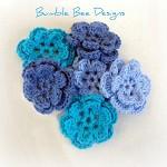 6 x Crochet Denim & Blue Roses Flower Applique Motifs Clips scrapbooking