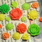 20pcs - Resin Flower Cabochons - Citrus