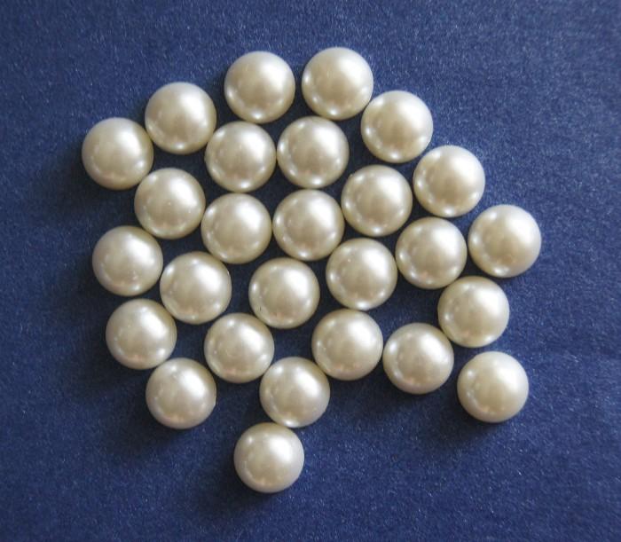50 Ivory Pearl Flat Back Embellishments