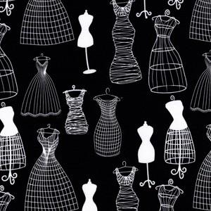 Michael Miller Designer Dressforms in Black - Destash 55x92cm