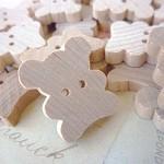 5 Teddy Bear Wooden Buttons