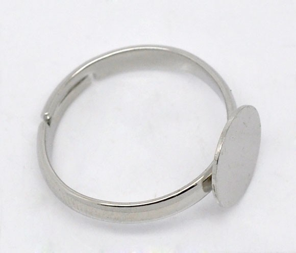 10 x 10mm Pad, Silver Plated Adjustable Rings