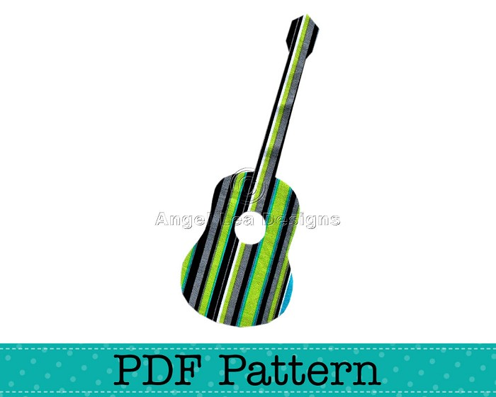 acoustic guitar applique template music diy pdf pattern for