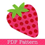 Strawberry Applique Template, Fruit, Food, DIY, PDF Pattern for Children, Girls