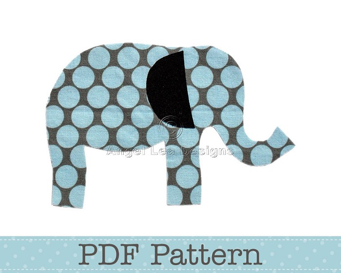 Elephant applique template animal diy children pdf pattern