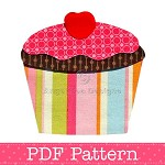 Cupcake Applique Template, Cake, Food, DIY, PDF Pattern for Children, Girls