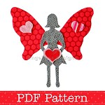 Applique Template, Valentine Fairy, Valentine's Day Designs, DIY, PDF Pattern