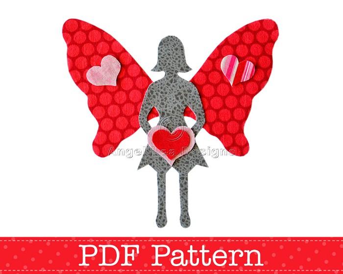 Applique Template, Valentine Fairy, Valentine's Day Designs, DIY, PDF Pattern