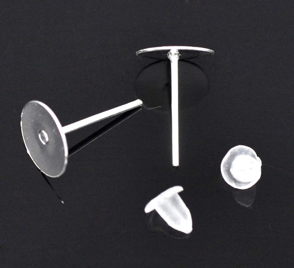 50 x 8mm Pad Silver Plated Earring Posts