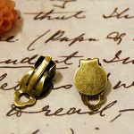 6 Pcs Earrings Round Clasps ,Antique Brass Color