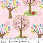 75cms - Pink Trees - Hoo's in the Forest by Doohikey Designs for Riley Blake