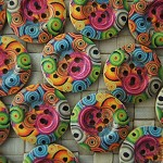 LAST SET 10 Multi Colour Swirl Wooden Buttons