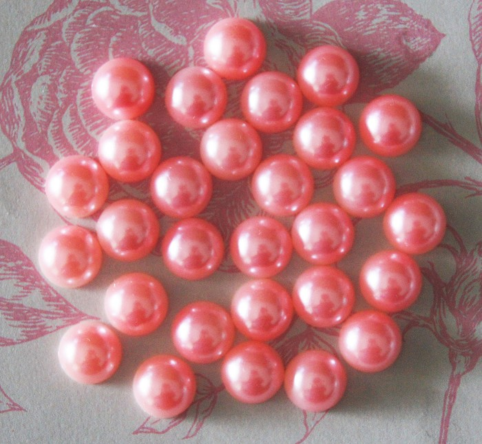 25 Pink Pearl Flat Back Embellishments