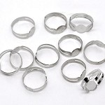 20 Silver Plate 8mm Pad, Adjustable Rings