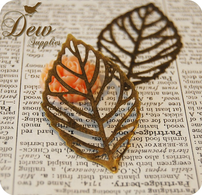 12 Pcs Vintage Style Antiqued Leaf Metal Bead Charm - Bronze Color