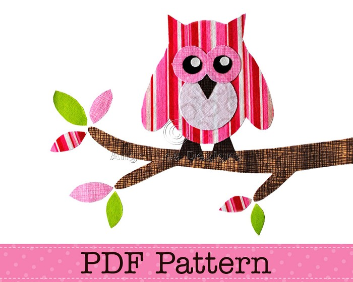 Owl on Branch Applique Template, Bird, Animal, DIY, PDF Pattern for Children