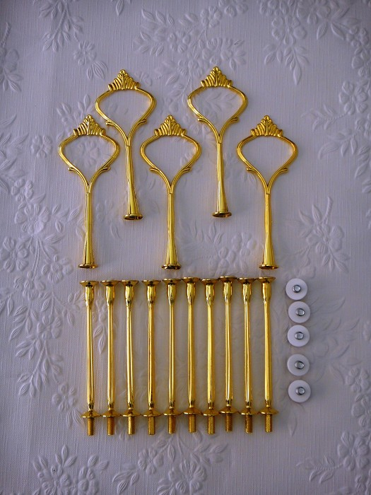 5 x Cake Stand Handles & Fittings 3 tier Hardware Gold LIGHTWEIGHT Crown Sets